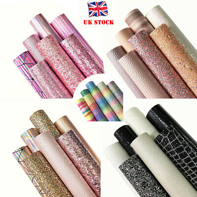 £6.38 • Buy 5/7pcs Mixed Glitter Faux Leather Fabric Sheets Bundle Sets For Bows Craft