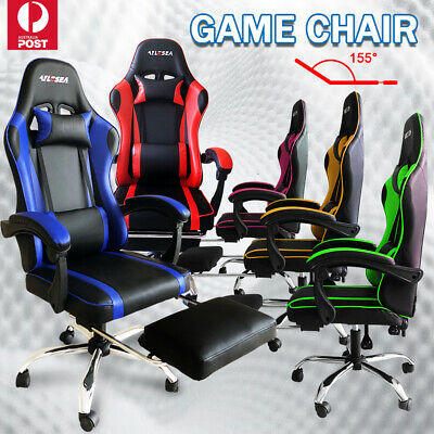 AU133.59 • Buy Office Computer Gaming Chair Executive Racer Recliner Chairs PU Leather Seat New