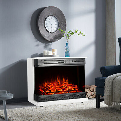 Moveable Electric Fireplace LED Log Burning Fire Flame Surround Free Stand Home • 311.94£