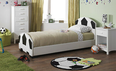 Faux Leather Soccer Bed Frame Football Bedstead Black And White Football Net • 183.99£