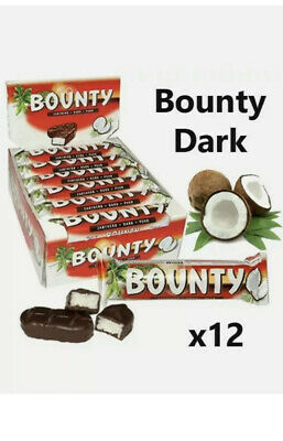 BOUNTY DARK CHOCOLATE 57g X 12 Bars Free Delivery Cheapest • 10.99£