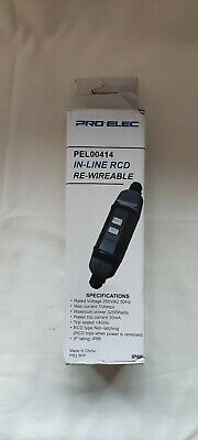 Pro-Elec - PEL00414 - In-Line RCD - Re-Wireable - New - Free P&P • 17£