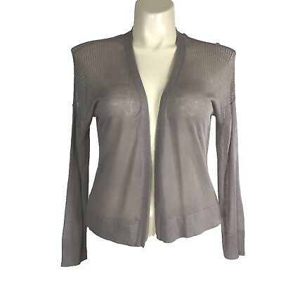 £21.78 • Buy NEW Womens Large Cardigan Open Stitch Yoke Taupe Brown Cinder Knit Crop NWT $36