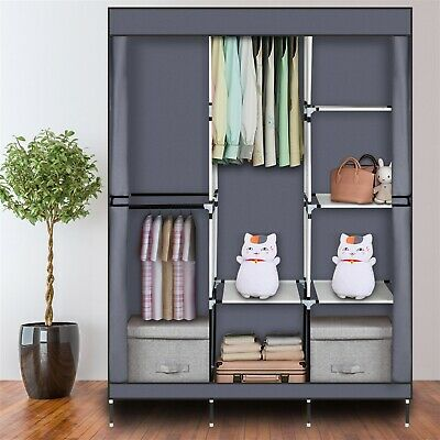 Large Fabric Portable Wardrobe With Hanging Rail Pop Up Shelving Clothes Storage • 28.99£
