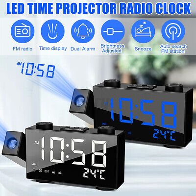 AU30.89 • Buy Digital Dual Alarm Clock FM Radio LED Projection Time Date Projector Bedside USB