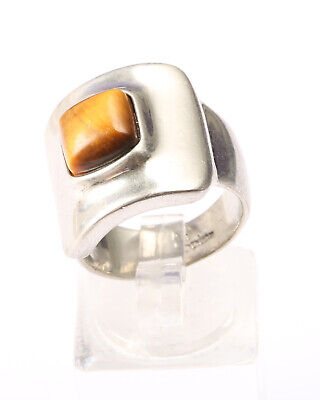 $ CDN31.76 • Buy Lia Sophia, Vintage 1980s, Silver Tone And Brown Stone Ring Size N