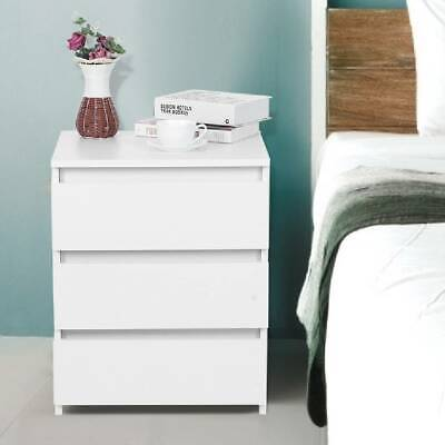£52.99 • Buy Chest Of 3 Drawers Bedside Table Nightstand Cabinet Bedroom Storage Stand White
