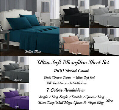 AU43.50 • Buy 40cm Or 50cm Wall 1800TC Ultra Soft Microfibre Fitted Full Sheet Set All Sizes