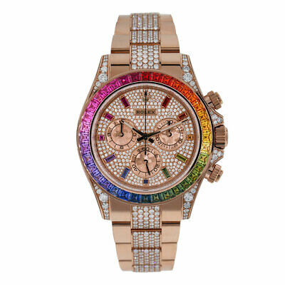 $ CDN623574.71 • Buy Rolex Cosmograph Daytona Factory Diamond Rainbow Rose Gold Watch 116595RBOW