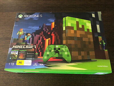 AU750 • Buy Microsoft Xbox One S Minecraft Limited Edition Console Green & Brown 1 TB - RARE