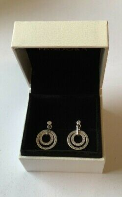 Circles Logo Drop Earrings In Pandora Gift Box Genuine Sterling Silver S925 • 20.99£