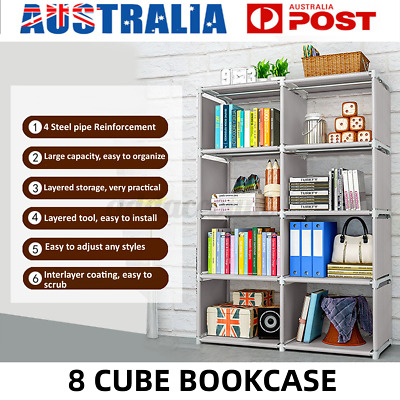 AU37.99 • Buy 8 Cube Bookcase Storage Rack Cabinet Organizer Bookshelf Book Display Shelf