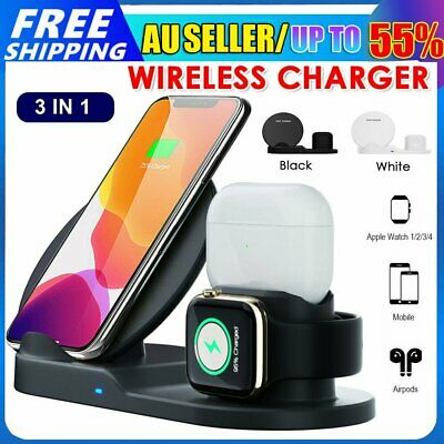 AU26.89 • Buy 3in1 Qi Wireless Charger Fast Charging Dock Stand For Airpods Apple Watch IPhone