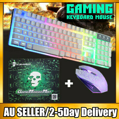 AU28.89 • Buy PC Laptop LED Gaming Keyboard And Mouse Set Wired USB Combo Bundles For PS4 Xbox