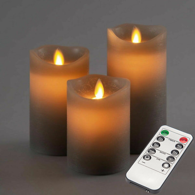 £11.99 • Buy 3pcs Flickering LED Candles Real Wax Battery Powered Lights Remote Control Lamps