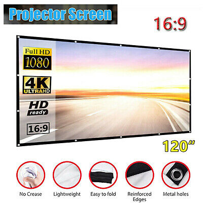 AU20.09 • Buy 120   Foldable Projector Screen Portable Outdoor Home Movie Cinema 16:9 HD 3D
