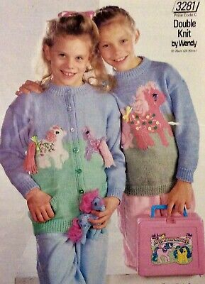 Girl's My Little Pony Cardigan And Sweater Knitting Pattern 24 -30  Chest DK • 1.85£