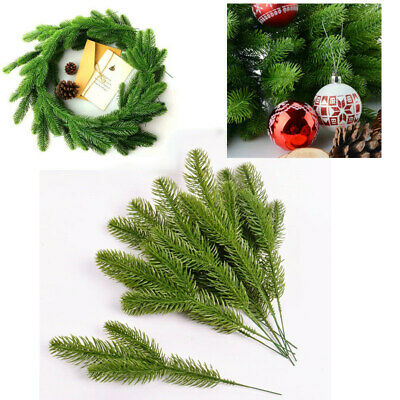 10Pcs Christmas Artificial Plants Flower Fake Pine Branches Xmas Tree Home Decor • 3.99£