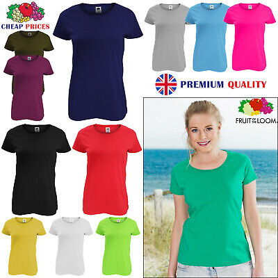 £4.99 • Buy Ladies Womens Fruit Of The Loom Plain Coloured Cotton Fitted T-Shirts Tee Shirt