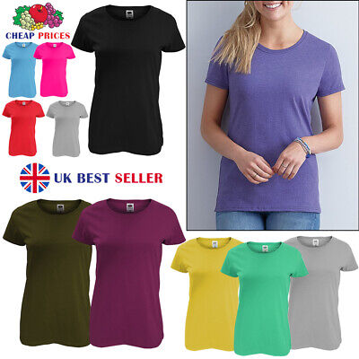 £3.99 • Buy Original Fruit Of The Loom Womens Ladies Plain Cotton Tee Fitted Iconic T-Shirt