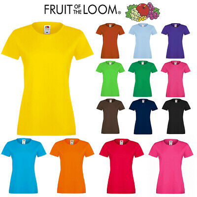 £2.99 • Buy Womens Ladies Original Fruit Of The Loom Plain Cotton Tee Fitted Iconic T-Shirts