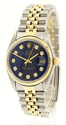 $ CDN7316.80 • Buy Mens Vintage ROLEX Oyster Perpetual Datejust 36mm Gold DIAMOND Blue Dial Watch