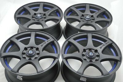 $539 • Buy 4 New DDR ZK15 17x7.5 4x100/114.3 35mm Matt Black/Blue Undercut Wheels Rims