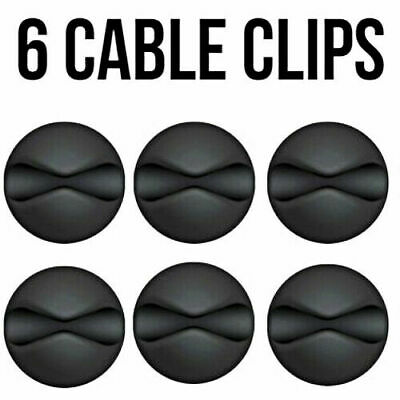 6x Black Cable Wire Cord Lead Drop Clips Usb Charger Holder Tidy Desk Organiser • 3.49£