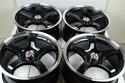 $479 • Buy 4 New DDR Fuzion 15x6.5 4x100/114.3 38mm Black/Polished Lip 15  Wheels Rims
