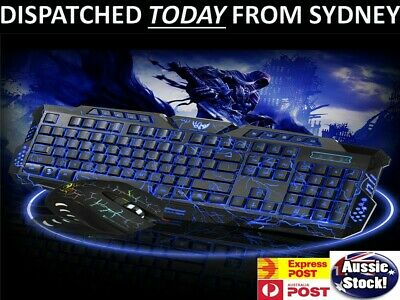 AU30.45 • Buy Pro LED Gaming Keyboard And Mouse Combo Bundles Wired USB For PC Laptop PS4 Xbox