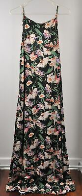 AU39 • Buy BNWT ASOS SIZE 14 Black Pink White Green Orchid Floral Roses Maxi Long Single...