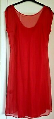 M&S Limited Collection Red 100% Silk Chiffon Floaty Dress Size 10. • 5.50£