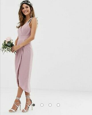 £20 • Buy TFNC Bridesmaid Exclusive Wrap Midi Dress In Pink Size 8 2 AVAILABLE