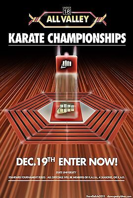 $9.99 • Buy Karate Kid Tournament All Valley Silk Fabric Poster 11 X17  From 1984
