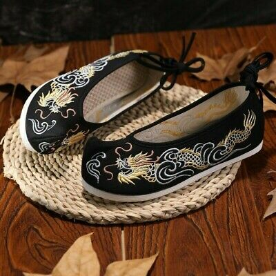 £17.10 • Buy Lady Chinese Embroidered Dragon Cloth Shoes Frog Button Flat Soft Loafers Ethnic