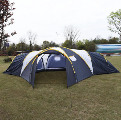 Camping Tent Hiking Large 6-9 Person 3 Rooms Outdoor Waterproof Shelter 2 Layer • 245.50£