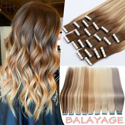 60PCS Tape-In Russian Remy Thick Human Hair Extensions Skin Weft Ombre Balayage • 12.24£