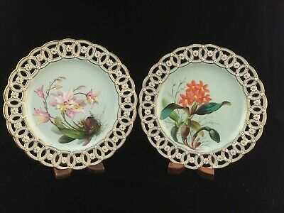 £43.63 • Buy 2 Antique Minton Porcelain Reticulated Plates W/ Orchids REPAIRS TO EDGES