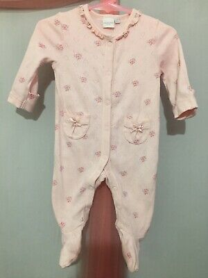 Baby Girls Blue Zoo Pink Love Heart Textured Floral Babygrow Sleepsuit 0-3m💕💕 • 2.99£