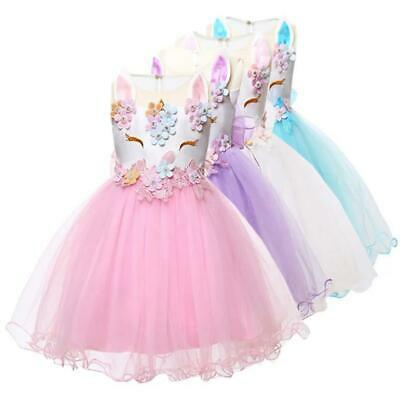 AU39.90 • Buy Baby Girl 1st Birthday Pretty Unicorn Outfit Dress 2 Pcs Photoshoot Cake Smash