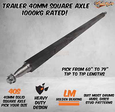 AU99.95 • Buy Trailer Round Solid 40mm Square Axle Axel Caravan Hub Drum Disc Lazy 1000KG HD