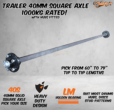 AU159.95 • Buy Trailer Round Solid 40mm Square Axle Axel Caravan Hub Drum Disc 1000KG 60-79