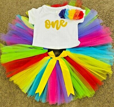 AU37.99 • Buy Baby Girl RAINBOW 1st Birthday Outfit Tutu Set Dress Cake Smash Photoshoot 3pcs