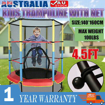 AU102.87 • Buy 4.5FT Kids Trampoline Junior Safety Net Jumping Spring Pad Cover Indoor Outdoor