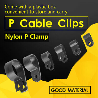 £10.86 • Buy 200X Nylon Plastic P Clips Clamp Assorted Box For Cable Conduit Kit High Quality