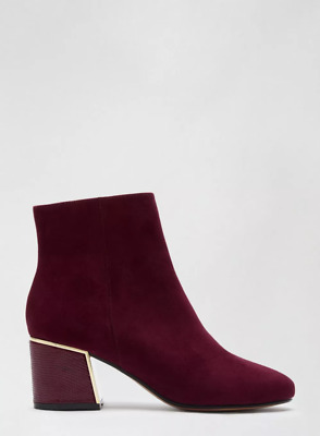 Dorothy Perkins Womens Burgundy Amber Ankle Boots Casual Winter Warm Shoes • 21.49£