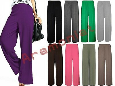 Womens Palazzo Pants Trousers Plain Leggings Ladies Plus Size Wide Flared 8-26 • 7.99£