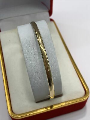 AU410 • Buy 9ct 9k Yellow Gold Plain Polished Solid Half Round Bangle 61.5mm 5.1 Grams. New