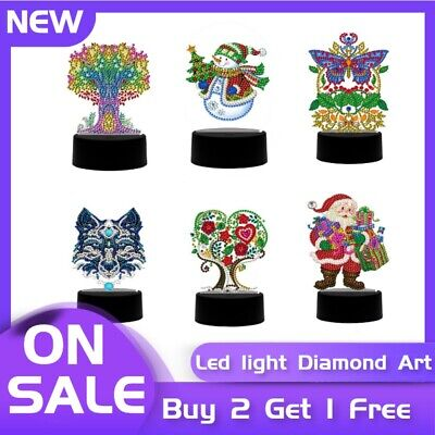 AU24.69 • Buy Table Lamp LED Diamond Painting Night Light Decor Gifts New Sale Multiple Styles