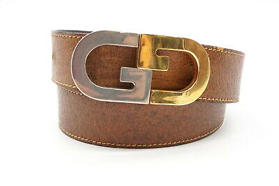 AU182.19 • Buy Old GUCCI Vintage Waist Belt GG Silver Gold Buckle Leather Brown 3140k